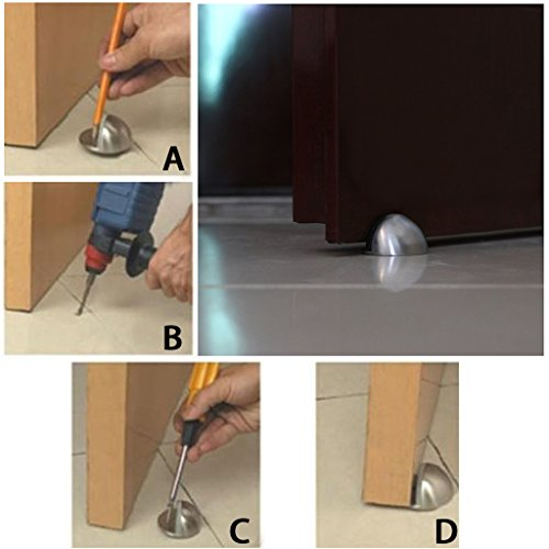 Sumnacon Floor Door Stopper, 5Pcs Stainless Steel Door Stopper with Rubber Bumper-Contemporary Safety Floor Mounted Doorstop with Hardware Screws, Heavy Duty Home Commercial Industrial Floor Door Stop by Sumnacon (Image #4)