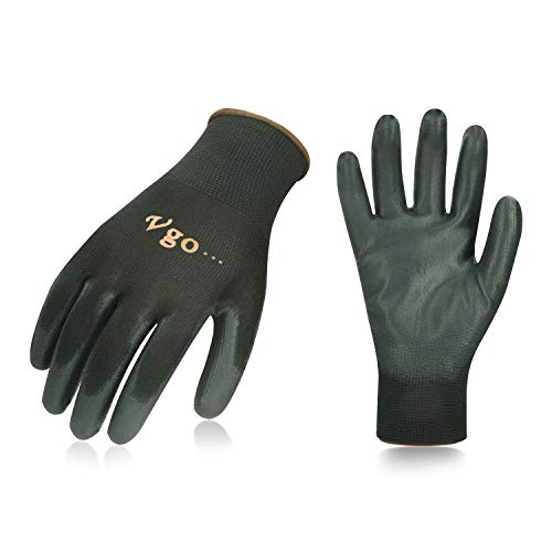 Vgo 15Pairs Polyurethane Coated Gardening and Work Gloves (Size M,Black,PU2103) - Fingertip Coated Gloves