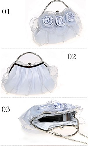 Clutch Evening Bags Girl's Party Rose Bridal Satin Silver Wedding Prom Lace Flower Rosy Flada Shiny zpfwawq
