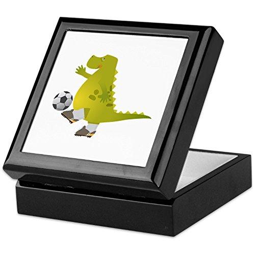 Keepsake Box Black Dinosaur Playing Soccer