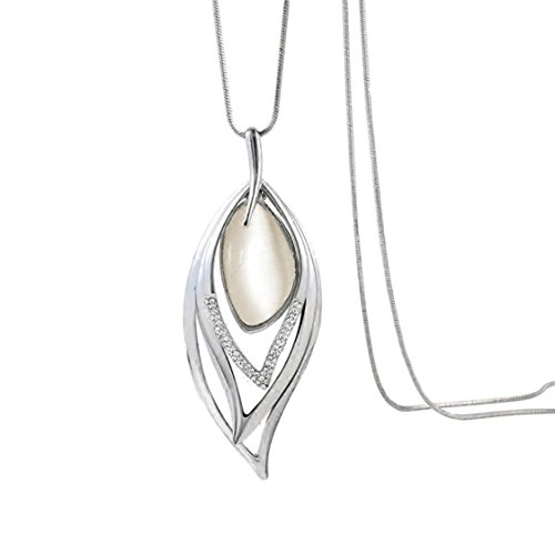 Nataliya Long Pendant Necklace (Opal Angle Eye (Long Statement Necklace)