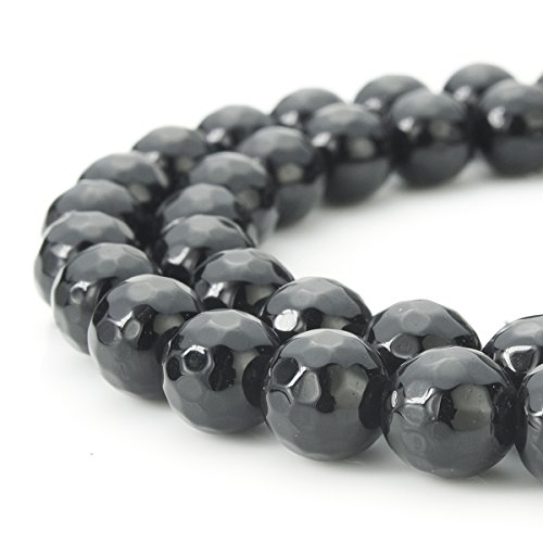 Faceted Agate Beads (BEADNOVA 8mm Natural Black Onyx Gemstone Agate Faceted Round Loose Beads For Jewelry Making (48-50pcs / Strand))