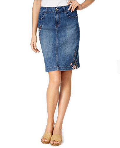 Style & Co. Women's Embroidered Denim Skirt (10, Craft)