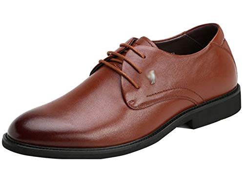 Scarpe Da Derby Business Uomo Uomo Stringate In Da Pelle Brown Scarpe HH7qABrx