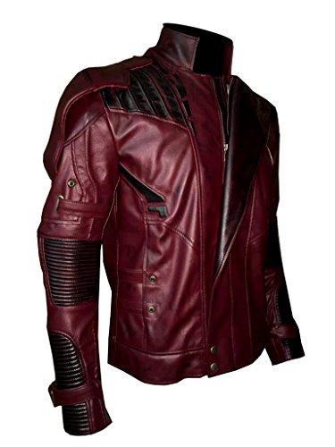Men's Guardians of The Galaxy Vol. 2 Star Lord Chris Pratt Real Leather Jacket (M, Maroon)