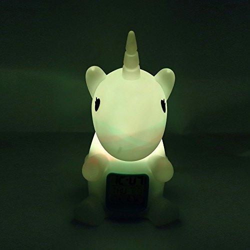 Unicornio LED de luz nocturna con reloj digital y medición de temperatura para la decoración de la habitación de los niños del cuarto de niños del bebé ...
