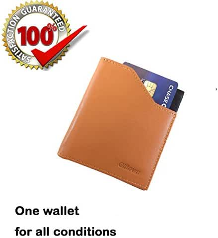 Slim Credit Card Holders Leather Thin Minimalist Mens Wallets Small Money Clips Front Pocket Easy Access to Cards Full Grain Leather