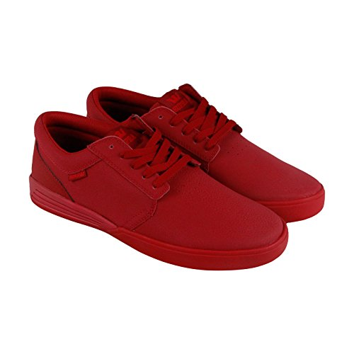 Supra Hammer Mens Red Leather Lace Up Sneakers Shoes 7.5