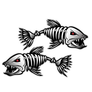 Fish Decal Set - 2 Pieces Set#2 | Kayak Decals Fish Bones Skeleton Stickers for Kayak Canoe Fishing Boat Wall Car Accessories