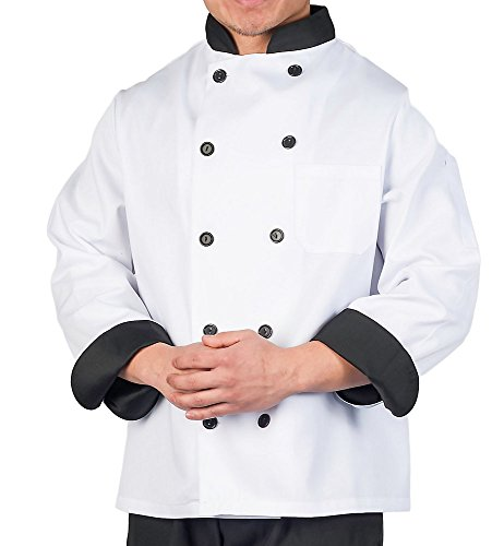 KNG Executive Chef Coat With Black Contrast, M - Executive Black Jacket