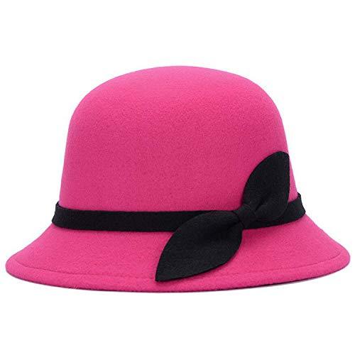 (Autumn Winter Women Wool Fedora Hat Elegant Girls Fashion Caps Ladies Bucket Hat with Leaf,Rose)