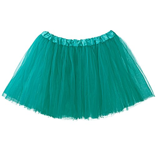 My Lello Adult Tutu Skirt, Classic Elastic 3 Layer Tulle Tutu for Women and Teens - Teal -