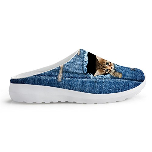 Cat Slippers Prints Nopersonality Mules Pet 11 Beach Women Breathable Denim Animal Mesh Men US5 Shoes denim animal1 w77ATIxq