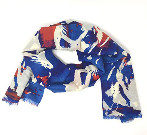Jane Carr Mad Dogs & Englishmen Red/White/Blue Wool/Silk Fashion Scarf