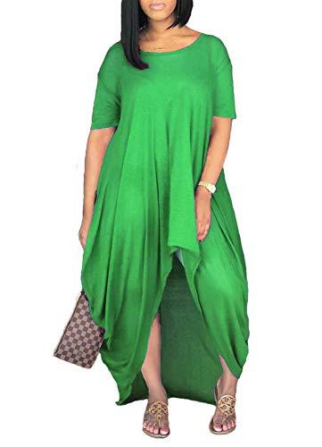 Remelon Women Short Sleeve Loose Fit Ruched High Low Asymmetrical Swing T Shirt Long Maxi Dress Green - Dress Ruched Asymmetric