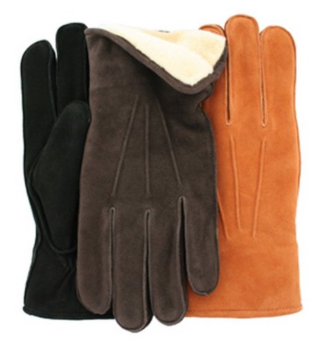 Men's 'POLAR' Deersuede Leather Gloves with Fleece By GRANDOE, Large, Black/Black