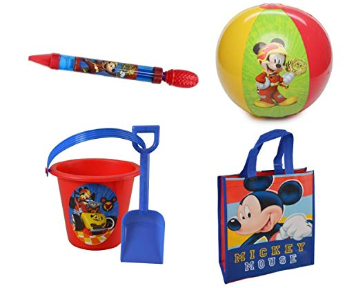 UPD Mickey Mouse & Roadster Racer Summer Beach/Pool Set: Beach Tote Bag, Pail, Shovel, Water Blaster & Beach Ball!]()