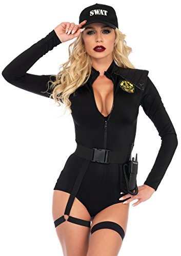 Leg Avenue Women's Sexy SWAT Team Police Officer Costume, Black, -