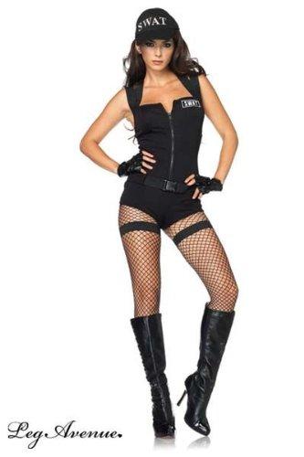 Leg Avenue Women's Swat Hottie Costume, Black, Large (Swat Costume Women)