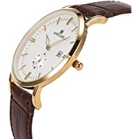 SIBOSUN Wrist Watch Men Japanese Quartz Genuine Leather Thin Slim Waterproof Business Casual Date