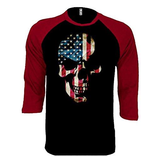 Skull USA Pride Flag Face Baseball Tee Patriotic 3/4 Sleeve Raglan Jersey Shirt X-LARGE