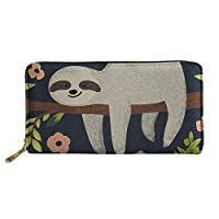 HUGS IDEA Floral Sloth Animals Wallets Long Wallet Clutch Purses Handbags for Women Ladies Girls