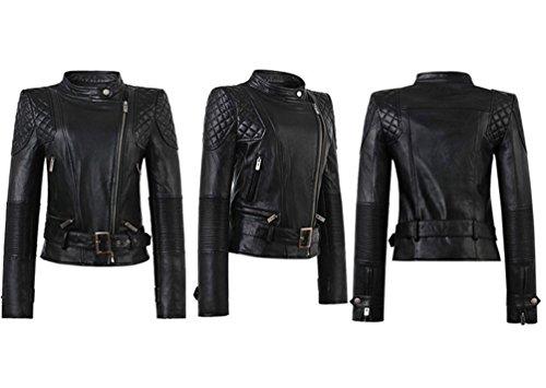 Moto PU Chaqueta Elegante motociclista Cazadoras Jacket Cuero de Manga Larga Chaqueta negro Biker Abrigos Mujer CqgnYxn