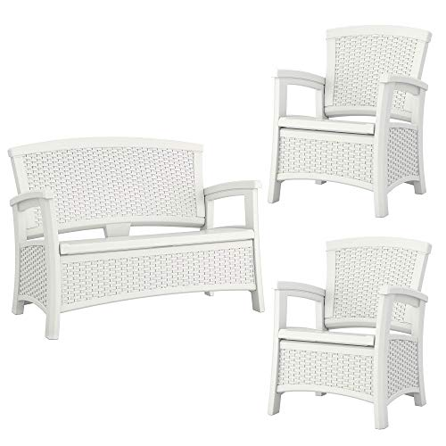 Suncast Elements Resin Wicker Design Loveseat with Storage + Club Chairs (Pair) (Elements Bench Suncast Wicker Storage)