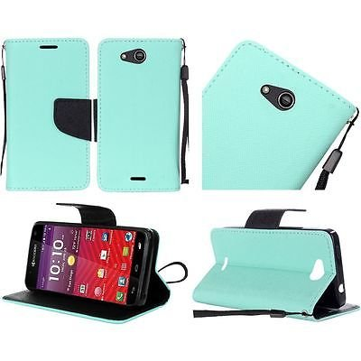 For Kyocera Hydro Wave Air C6740 PU Leather Flip Wallet Credit Card - Teal -  EpicDealz