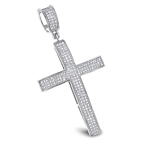 Luxurman Natural 0.6 Ctw Diamond Cross Pendants 14K Gold Cross (White - White Flower Gold Diamond Pendant