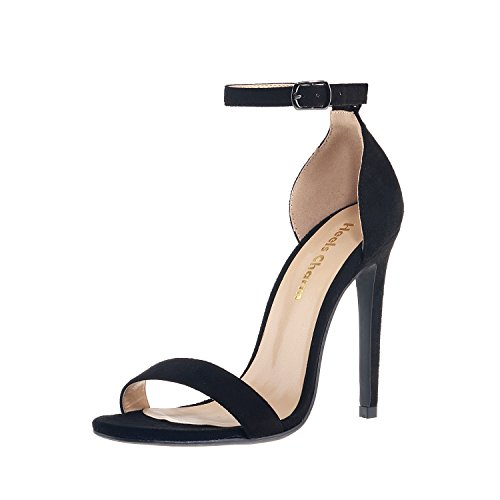 Women's Open Toe Stiletto High Heel Ankle Strap Sandals for Dress Wedding Party Evening Shoes Velvet Black Size 7.5