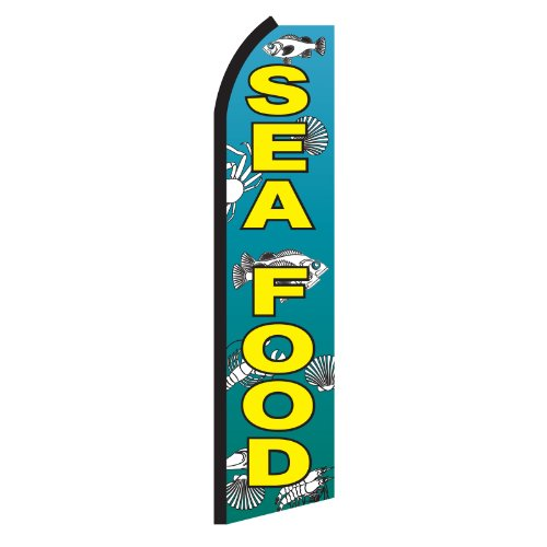 NEOPlex Seafood with Fish Graphics Swooper Flag