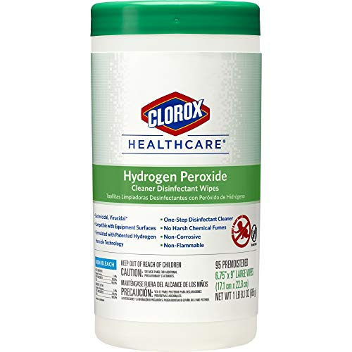 Clorox Healthcare Hydrogen Peroxide Cleaner Disinfectant Wipes 95 Count Canister 6 CanistersCase