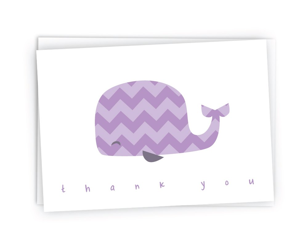 Colorful Chevron Whales Baby Thank You Note Cards - 48 Cards & Envelopes (Purple)