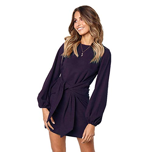 ALAIX Women's Casual Dress Crewneck Long Sleeve Bandage Mini T Shirt Dress Purple-L