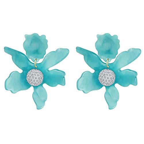 Floral Pendant Clip Earrings - Fashion Resin Acrylic Earrings Crystal Big Flower Clip On Dangle Drop Earrings for Women Girls Blue Color