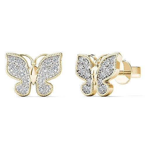 JewelAngel Women's 10K Yellow Gold 1/10 Carat TDW Diamond Classic Butterfly Stud Earrings (H-I, I1-I2) ()