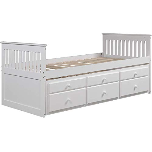 LZ LEISURE ZONE Kids Captain's Bed Twin Daybed with Trundle Bed and Storage Drawers, White