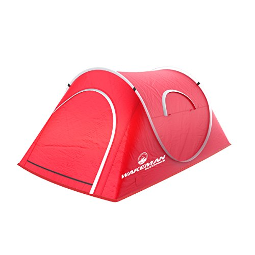 Wakeman Outdoors Pop-up Tent 2 Person, Water Resistant Barrel Style Tent for Camping With Rain Fly And Carry Bag, Starchaser 2-person Tent Red