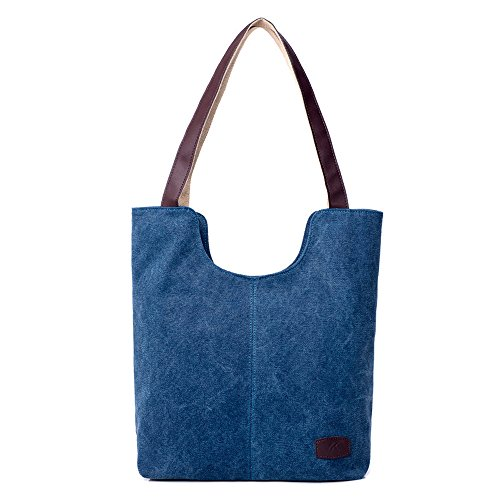 Hiigoo Simple Portable Bags Canvas Tote Bag Casual Shoulder Bag Bigger Handbag (Blue)