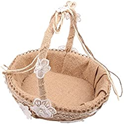 Burcan 8.6 Inch Handmade Classic Flower Girl Basket,Natural Burlap with Lace Basket for Wedding