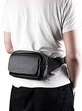 Brown AIAIMEI Sac Banane en Cuir v/éritable Sacoche pour Smartphone Tablet Portemonnaie Cuir Noir