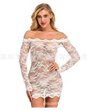 QYQQFZ Nachtjapon Dames Lace pyjama met lange mouwen Lace Lingerie Pajamas Sheer nachtkleding Nachtkleding Outfits (Color : White, Size : XL)