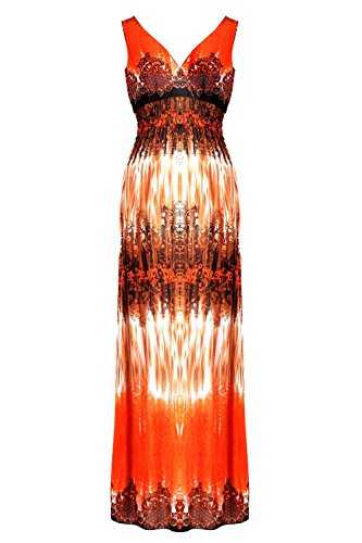 G2 Chic Women's Spring and Summer Printed Patterned Long Dress(DRS-MAX,ORNA1-XL)