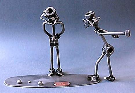 Boule (2 figuras) acero personaje como diseño de hombre sentado figura de soldadura especial naturaleza y regalo ideal para los hombres Diseño de fango y ...