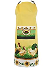 DII 100% Cotton, Printed Unisex Bib Chef Kitchen Apron, Adjustable Neck & Waist Ties, Front Pocket, Durable, Comfortable, Perfect for Cooking, Baking, BBQ - Rooster