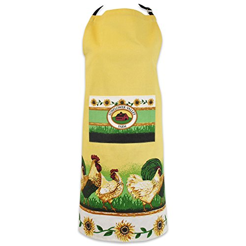 DII 100% Cotton, Printed Unisex Bib Chef Kitchen Apron, Adjustable Neck & Waist Ties, Front Pocket, Durable, Comfortable, Perfect for Cooking, Baking, BBQ - Rooster Rooster Apron