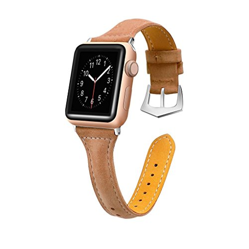 Price comparison product image Luxury Leather Bands for Apple Watch Band 38mm Buckle Replacement Slim Wristband Sport Strap for Iwatch Nike+, Series 3, Series 2, Series 1 Edition, 10 Colors Available (Coffee)