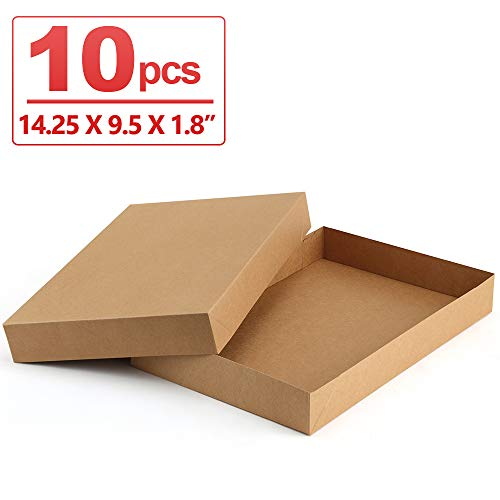 ValBox Kraft Shirt Gift Boxes 10 Pack Brown Large Paper Gift Boxes with Lids for Birthtday, Baby Shower, Wedding, Christmas, Easy Assemble Boxes   14.25 x 9.5 x 1.8 Inches]()