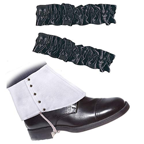 (Roaring 20's Armband Garter & Gangster Spats Set for 1920s Mens Accessory (OneSize, White Spats Black Garter))